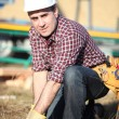 Stock Photo: Builder outdoors
