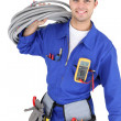 Handsome electrician — Stock Photo