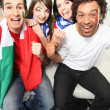 Four Italian football supporters — Stock Photo