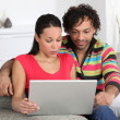 Royalty-Free Stock Photo: Couple at home looking at a laptop
