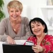 Two mature female friends shopping online. — Stock Photo