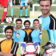 Collage of young men football players — ストック写真
