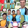 Collage of young men football players — Stockfoto