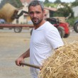 Farmer bailing hay — Photo
