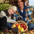 A couple taking a break from picking apples — Stockfoto #9064435