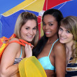 Three young women with wearing swim wear — Stock Photo #9064896