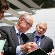 Businesspeople consulting a file outside — Stock Photo