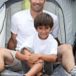 Father and son camping together — Stock Photo #9065926