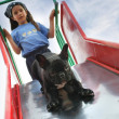 Young girl going down a slide with her dog — Stock Photo