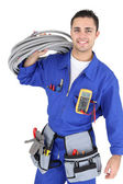 Handsome electrician — Stockfoto