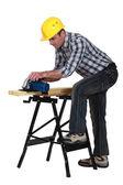 工作在木板上的工匠 — 图库照片