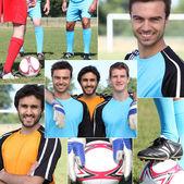 Kolaż młodych piłkarzy — Zdjęcie stockowe