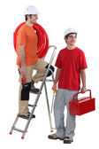 Two plumber ready to get stuck in — Stock Photo