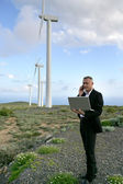Businessman using a laptop on a windfarm — Stock Photo
