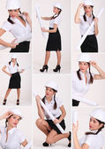 Shots of sexy brunette with plaits wearing hard hat — Stock Photo