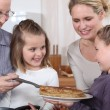 Family celebrating Chandeleur — Stock Photo