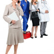 Assistant, mechanic, doctor and hairdresser. — Stock Photo #9154502