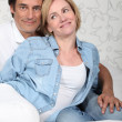 Stock Photo: Couple on bed