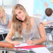 Female student at work in the classroom — Stock Photo #9154868