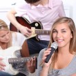 Teenagers playing musical instruments — Stock Photo