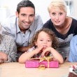 Family celebrating little boy birthday — Stock Photo