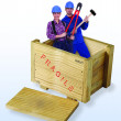 Female and male construction workers in wooden box — Stock Photo