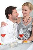 Couple enjoying a romantic evening together — Stock Photo