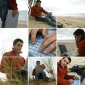 Collage of a man using his laptop by the sea — Stock Photo