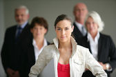 Young businesswoman leader of a business team — Stock Photo