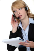 Answering the hotline. — Stock Photo