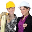 Female builder and architect — Stock Photo