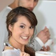 Couple eating breakfast cereal — Stock Photo #9161605