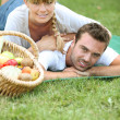 Stock Photo: Couple having romantic picnic together