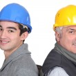Portrait of two laborers — Stock Photo