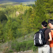 Stock Photo: A couple hiking in the mountains