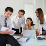 Business team setting the agenda — Stock Photo