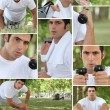 Healthy young man working out outdoors — Stock Photo #9165020