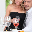 Happy couple enjoying romantic meal — Stock Photo