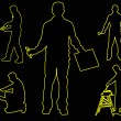 Stock Photo: Male silhouettes with yellow outline