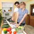 Stock Photo: Duo in kitchen