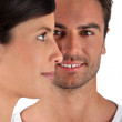 Couple facing different directions — Stock Photo