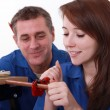 Young apprentice plumber with mentor — Foto Stock