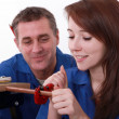 Stock Photo: Young apprentice plumber with mentor