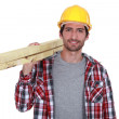 Portrait of a carpenter on white background — Stock Photo