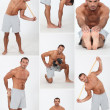 Stock Photo: Muscular mdoing stretching and fitness