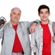Father and son electricians — Foto de Stock