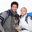 Stock Photo: Couple going camping.