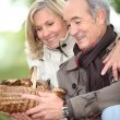 Mature couple after ramble in the woods — Stock Photo #9169969