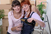 Friends with glasses of champagne — ストック写真