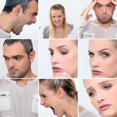 Expressions of faces of a man and a woman — Stock Photo